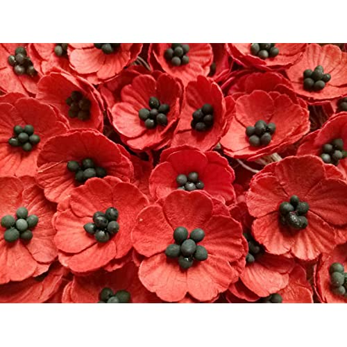 Artificial poppies amazon nava chiangmai red poppy mulberry paper flower no wire stem mulberry paper flowers mightylinksfo