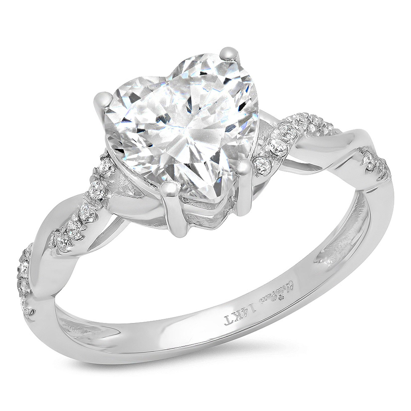 Clara Pucci 2.09 CT Heart Cut Criss Cross Twisted Wedding Engagement Bridal Ring Band 14k White, Size 10
