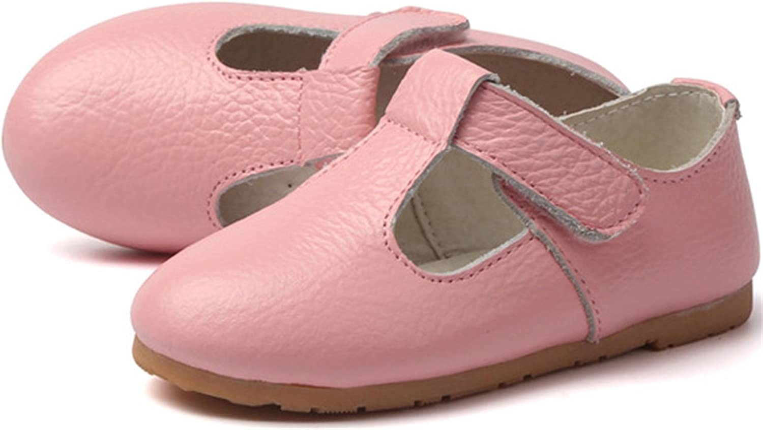 PPXID Toddler Little Girls Leather T-Bar Oxford Shoes Mary Jane Flats Shoes-Pink 9.5 US Size