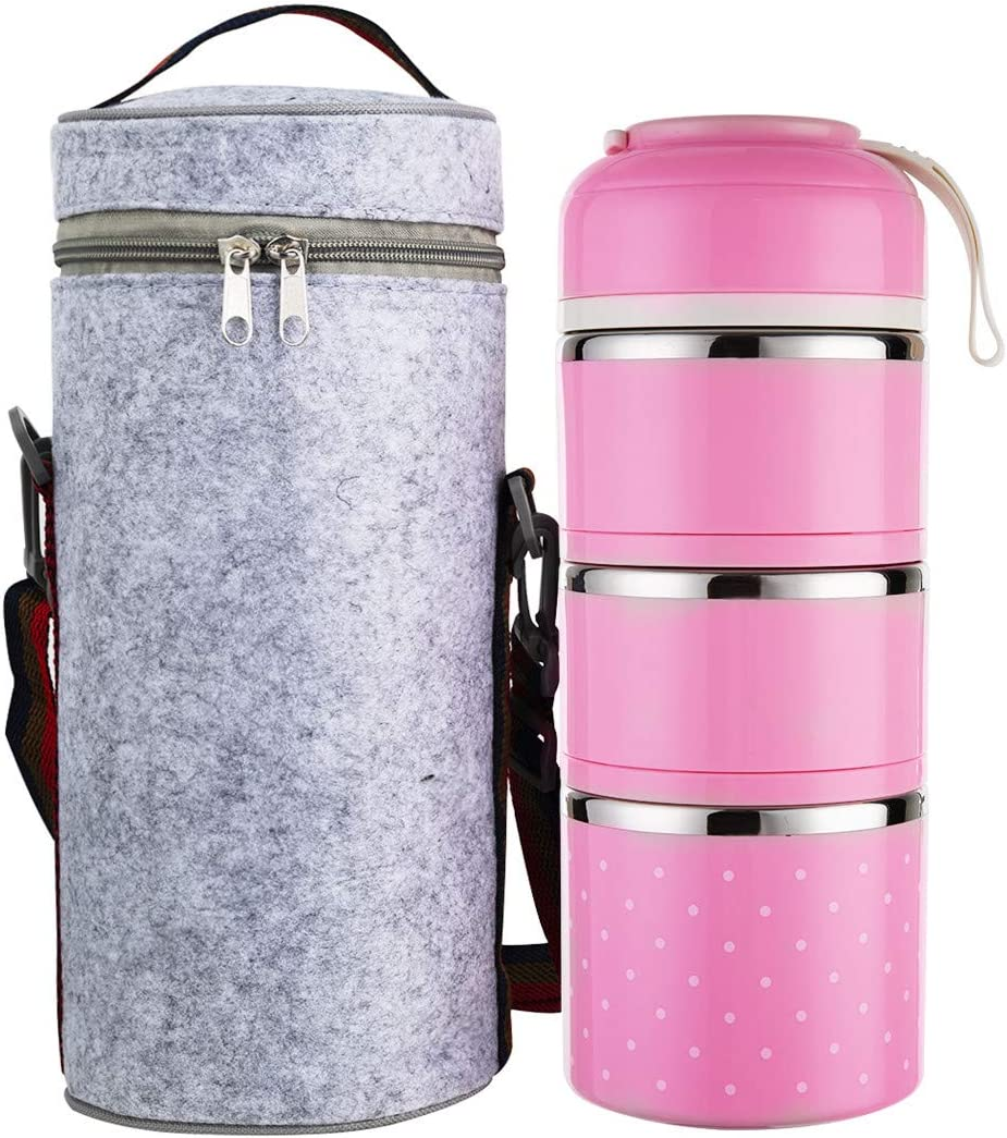Tiffin Box, Stainless Steel Insulated Lunch Box for Hot Food Carrying Steel Container Bento Box Stackable Tiffin Lunch Box with Carrying Bag Gray (Light Pink)