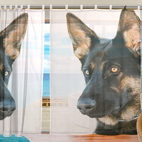 ALAZA Brown German Shepherd Dog Window Sheer Voile Curtains - the best window curtain panel for the money