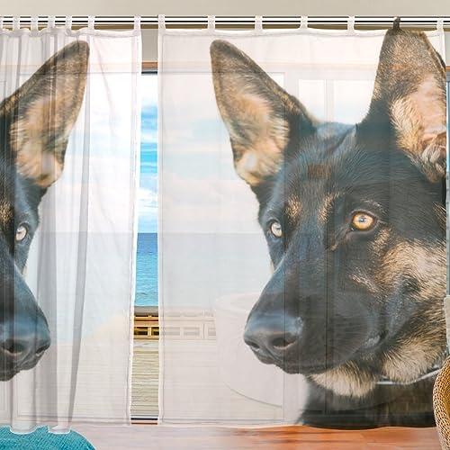 ALAZA Brown German Shepherd Dog Window Sheer Voile Curtain