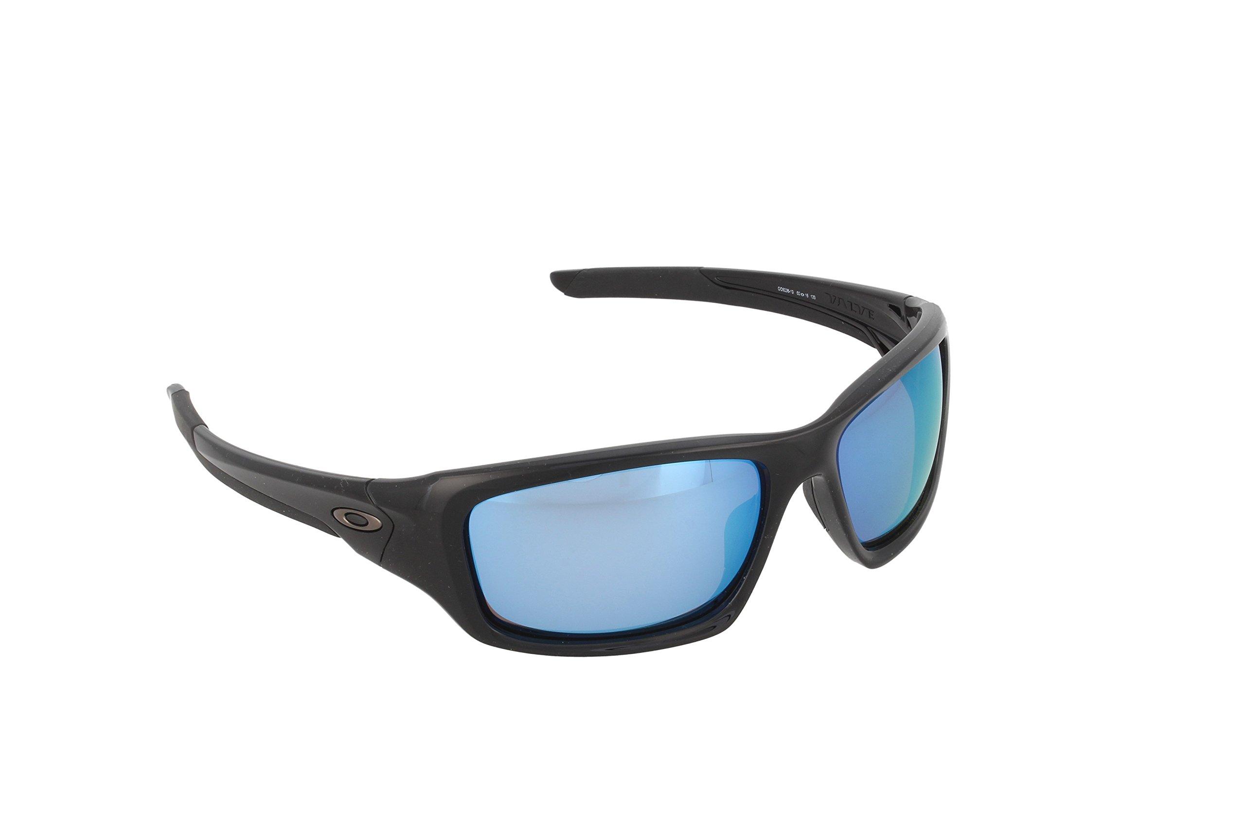 Oakley Men's Valve Polarized Rectangular Sunglasses, Polished Black, 60 mm