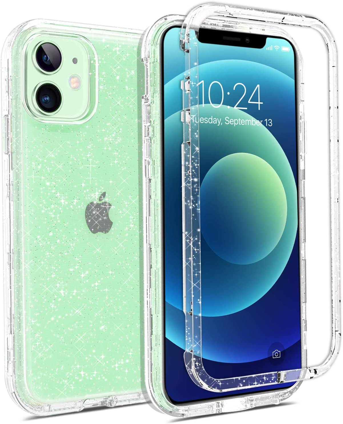 Coolwee Crystal Glitter Full Protective Case Compatible with iPhone 12 Mini Heavy Duty Hybrid 3 in 1 Rugged Shockproof Women Girls Transparent for Apple iPhone 12 Mini Shiny Clear Bling Sparkle