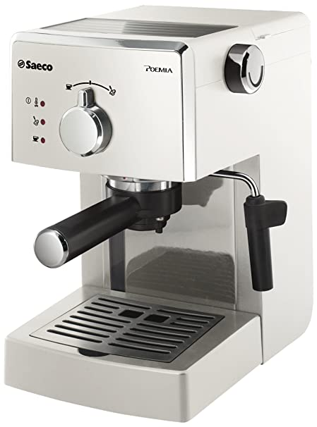 Philips Saeco Poemia Focus - Cafetera de espresso manual, color blanco