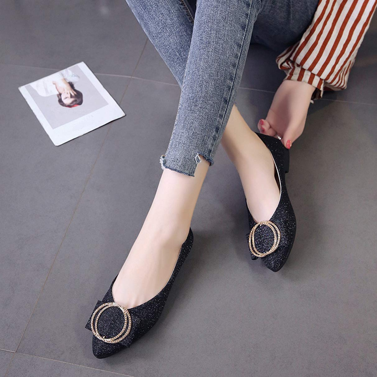Women Flats Fashion Metal Decoration Shallow Pointed Toe Office Shoes