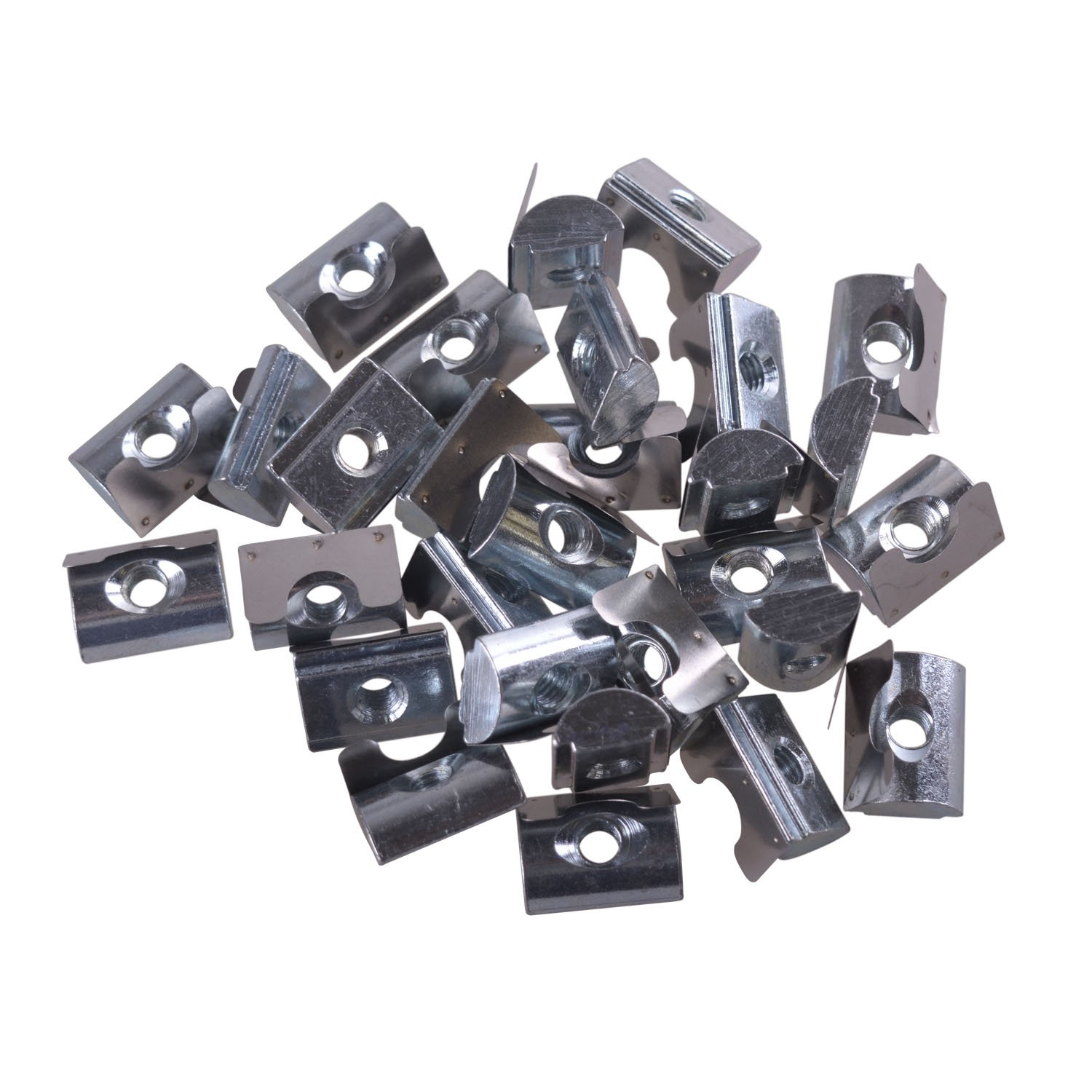 Glvanc, M6 Silver European Standard Carbon Steel Drop in T Nut with Spring Sheet for Aluminum Extrusion with Profile 45 Series 30Pcs