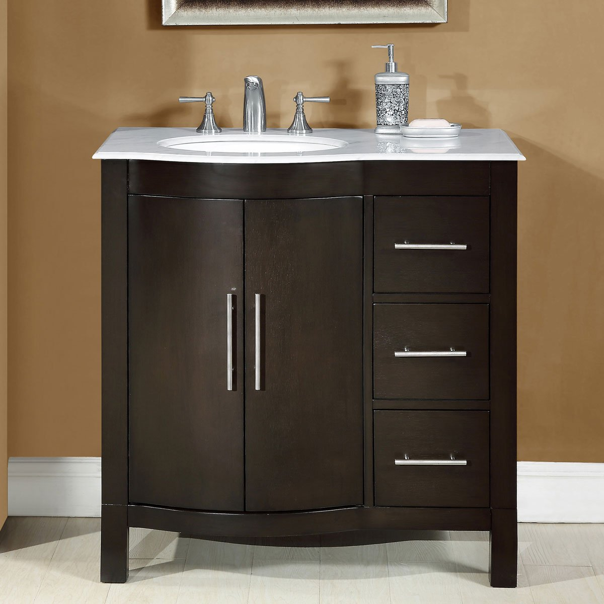 Silkroad Exclusive Single Left Sink Bathroom Vanity with Furniture Cabinet, 36-Inch