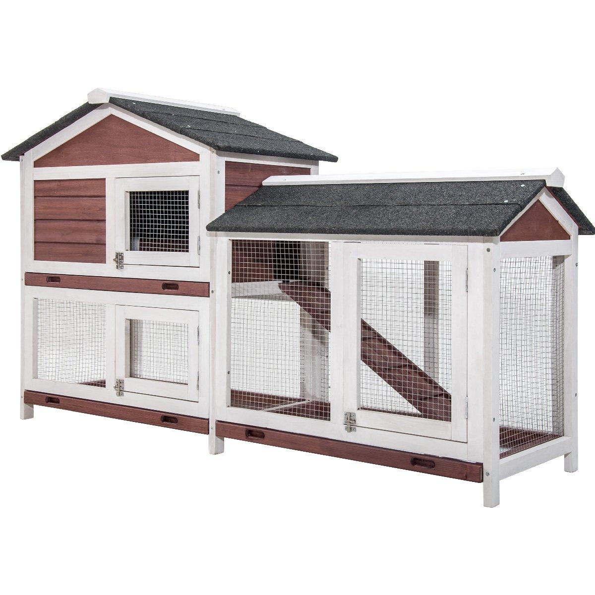 Purlove Pet Rabbit Hutch Wooden House Chicken Coop for Small Animals (Rabbit Hutch #4) by PURLOVE