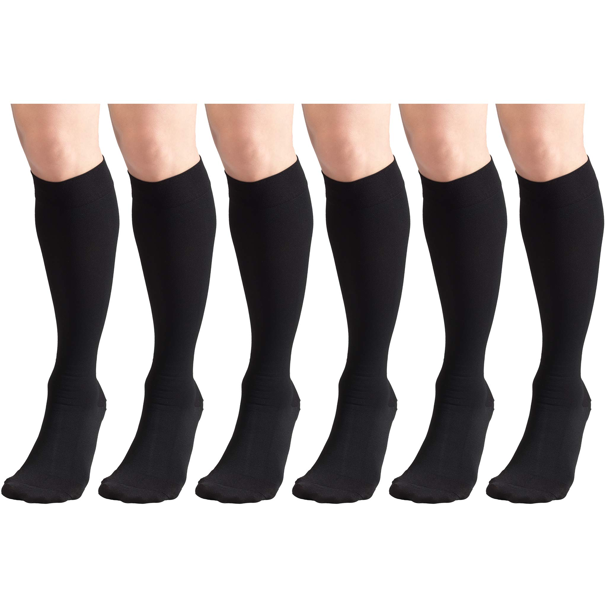 20-30 mmHg Compression Stockings for Men and Women, Knee High Length, Closed Toe Black Large (6 Pairs)