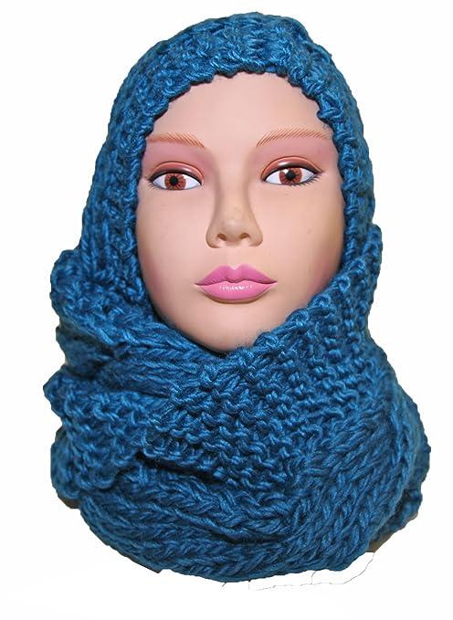 Bonnet écharpe capuche femme grosse maille mode fashion (TU, Bleu)   Amazon.fr  Vêtements et accessoires abb478b29af