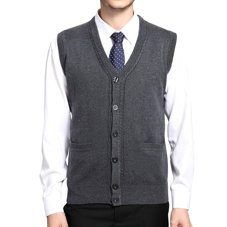fd3a693a4da18a FULIER Mens Winter Warm Wool V-Neck Gilet Sleeveless Vest Waistcoat  Gentleman Comfort Soft Knitwear Cardigans Knitted Sweater Tank Tops With  Buttons Design