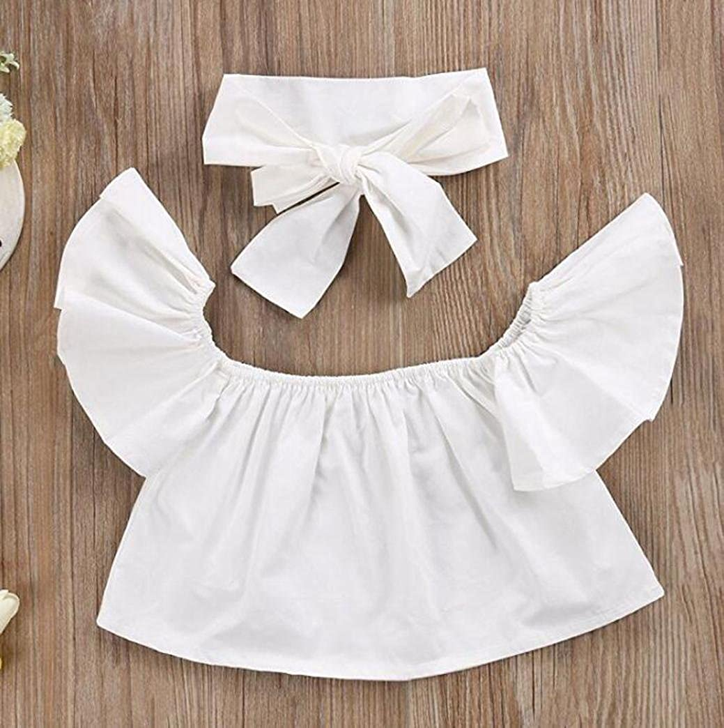 VIASA/_T-shirt VIASA Baby Off Shoulder Crop Tops Hole Denim Pant Distressed Jeans Headband Toddler Kids Girls Outfit Clothes