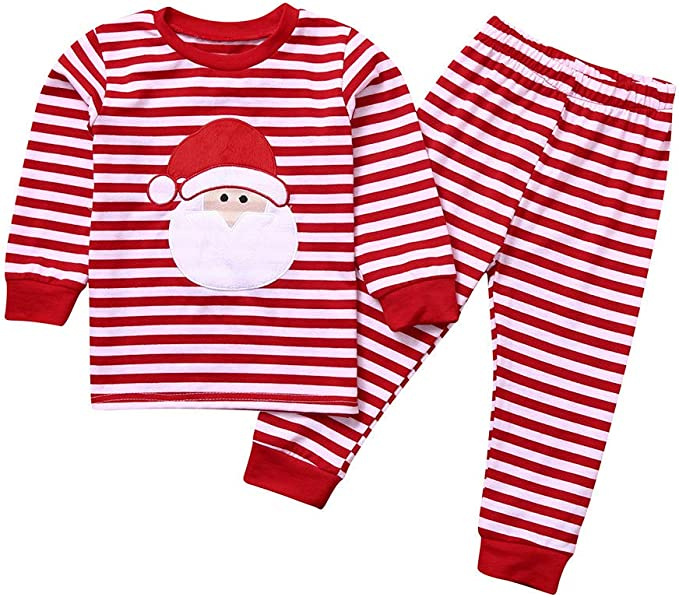 Elyseeseny Ensemble Noel Bebe Garcon 1 2 3 4 5 6 Ans Pyjama De Tee Shirt A Arbre De Noel Pantalon à Rayure Vetement Noël Fille Amazon Fr Vêtements Et Accessoires