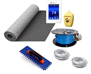 Suntouch Warmwire Radiant Floor Heating Kit - 80 Square Feet - Includes Suntouch Command Thermostat, HeatMatrix Membrane, 120080WB-CST Heat Cable and Safe Installation Tools