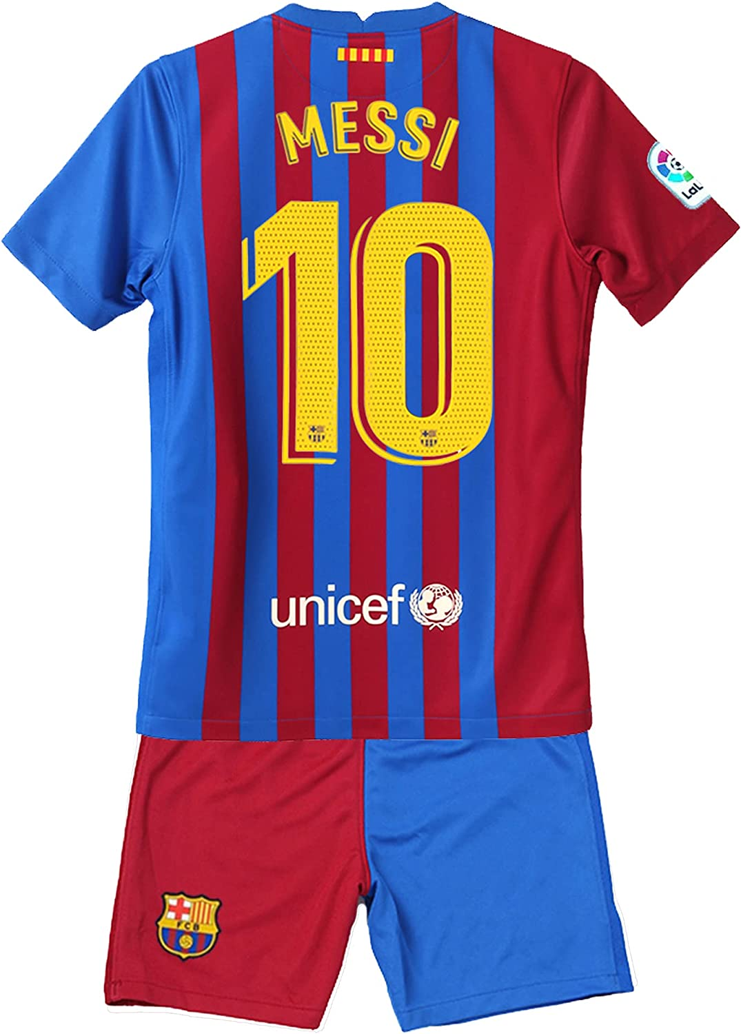 FILDOTG Messi #10 Kids/Youths 2021/2022 New Season Barcelona Red/Blue Home Soccer Sportswear T-Shirts Jersey