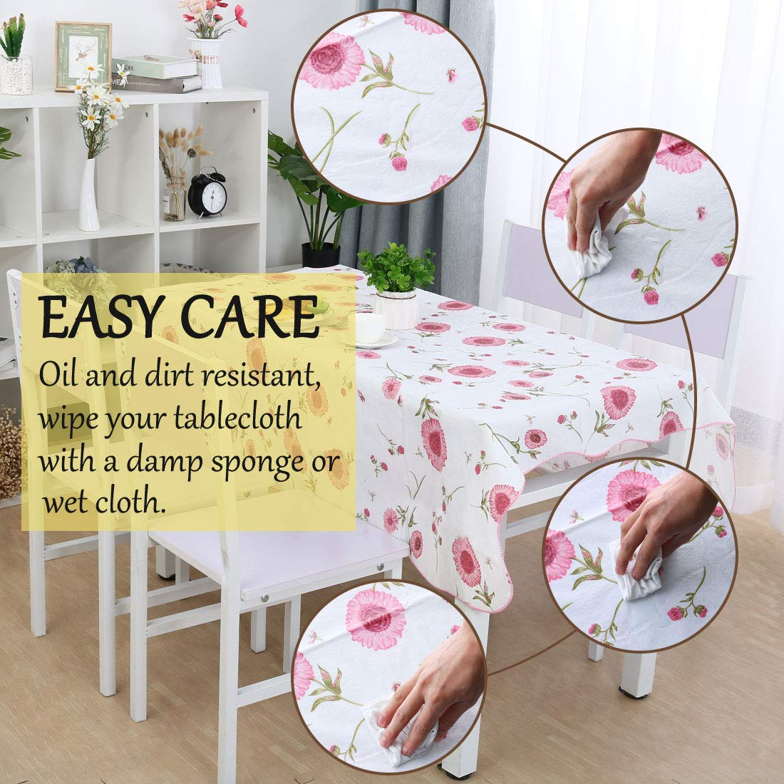 Sunflower Printed uxcell Seamless Stain Oil Resistant Square Tablecloth 53 x 53 for Wedding//Restaurant//Parties Table Decoration