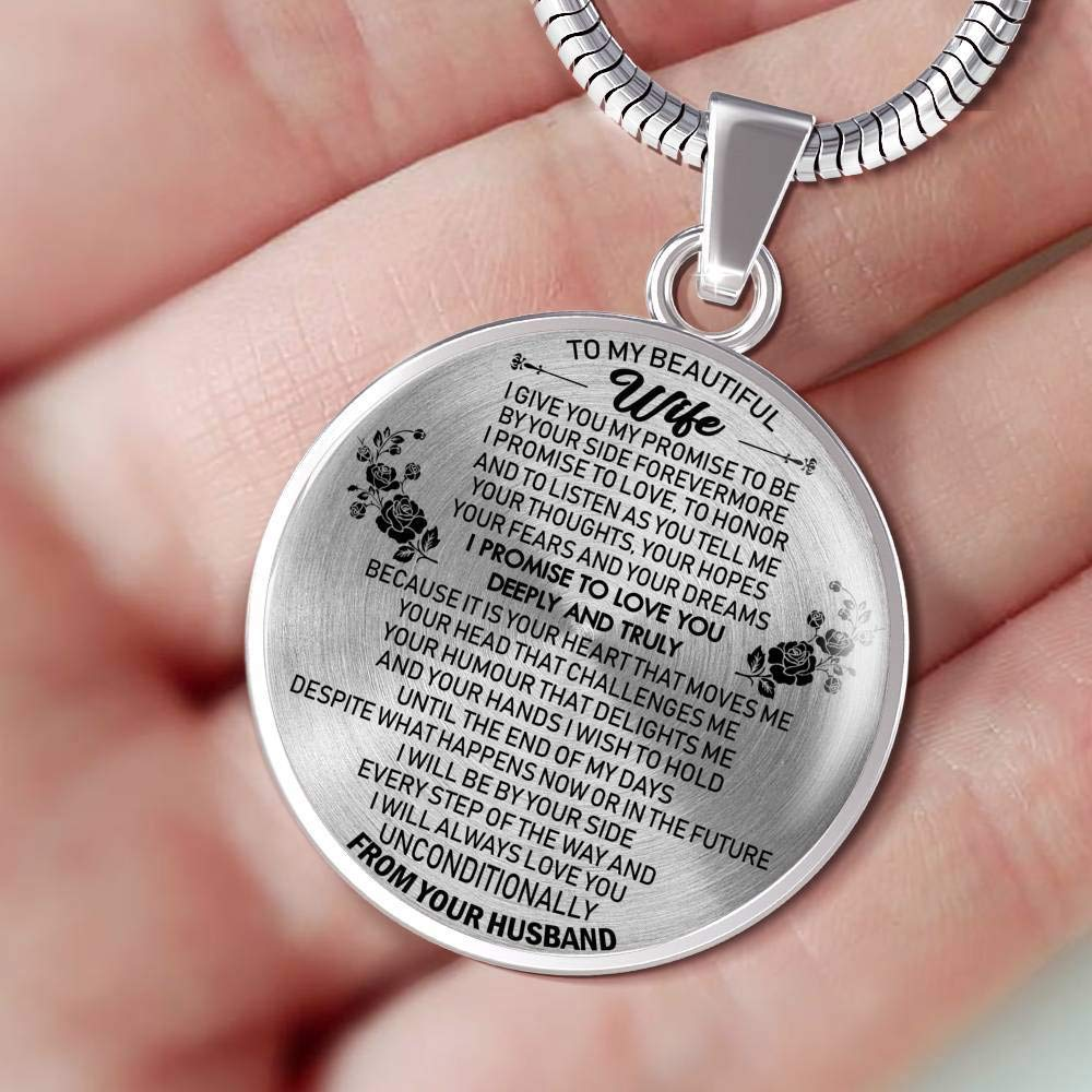 I Give Me My Promise Jewelry Birthday Gag Gifts for Your Love Fiancee ThisYear to My Beautiful Wife Pendant Necklace Custom from Husband