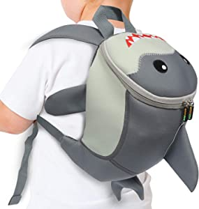 Emmzoe Toddler 3D Animal Backpack with Detachable Safety Harness Leash - Lightweight, Water Resistant, Adjustable - Fits Snacks, Food, Toys (Shark)