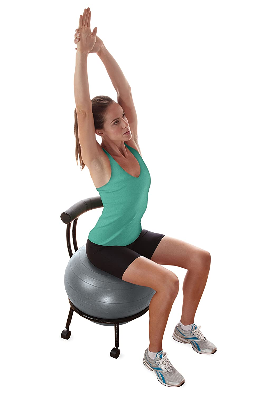 Stability Ball Desk Chair With 55cm Yoga Ball Inflation Pump And Exercise Guide For Home Or Office Gaiam Adjustable Custom Fit Balance Ball Chair Exercise Ball Chairs Sports Outdoors