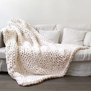 Vibola 100X120cm Chunky Knit Blanket Merino Wool arm Knitted Throw Super Large Hand Knitting Yarn Thick Huge Gray Cable Throw Giant Bulky Knitting (Beige)