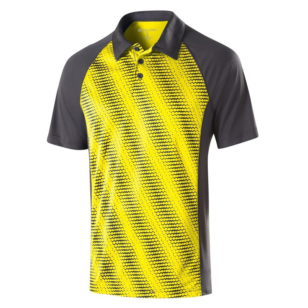 Holloway Dry Excel Mens Torpedo Polo (XXX-Large, Bright Yellow/Carbon)
