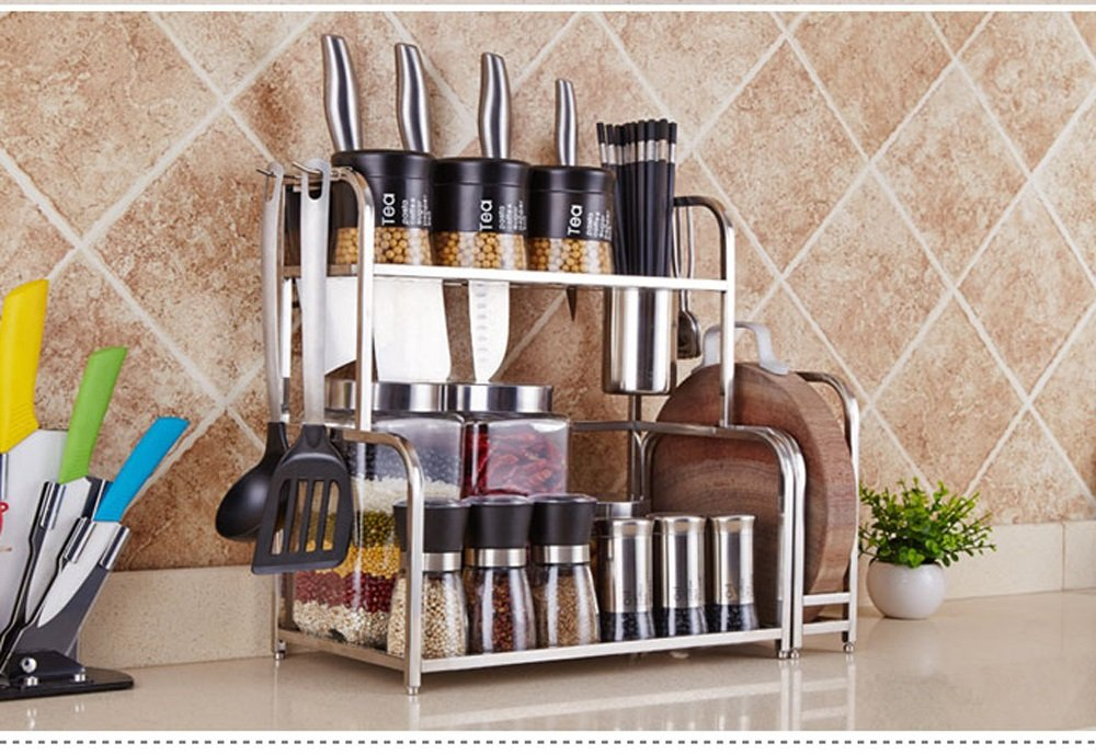 Hyun times 304 Stainless Steel Kitchen Racks Hanging 2 Layers Seasoning Seasoning Kitchen Utensils Supplies Knife