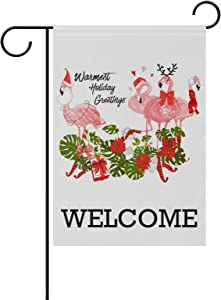ZZAEO Welcome Christmas Flamingo Small Garden Flag Vertical Polyester Double-Sided Printed Home Outdoor Yard Holiday Decor-12 x 18 inch