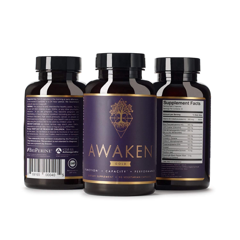 Awaken Gold Premium Nootropic Supplement | Advanced Brain Nutrition | Improve Memory & Learning | Enhance Focus & Clarity | Intensify Drive | 11 Premium Ingredients | Includes Noopept | 45 Servings