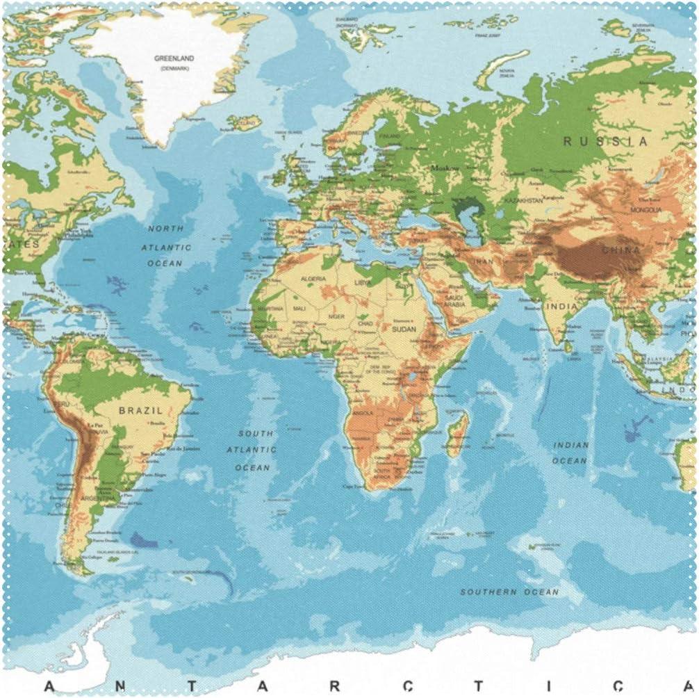 Manteles individuales, mapa físico del mundo, 30,5 x 30,5 cm, una ...