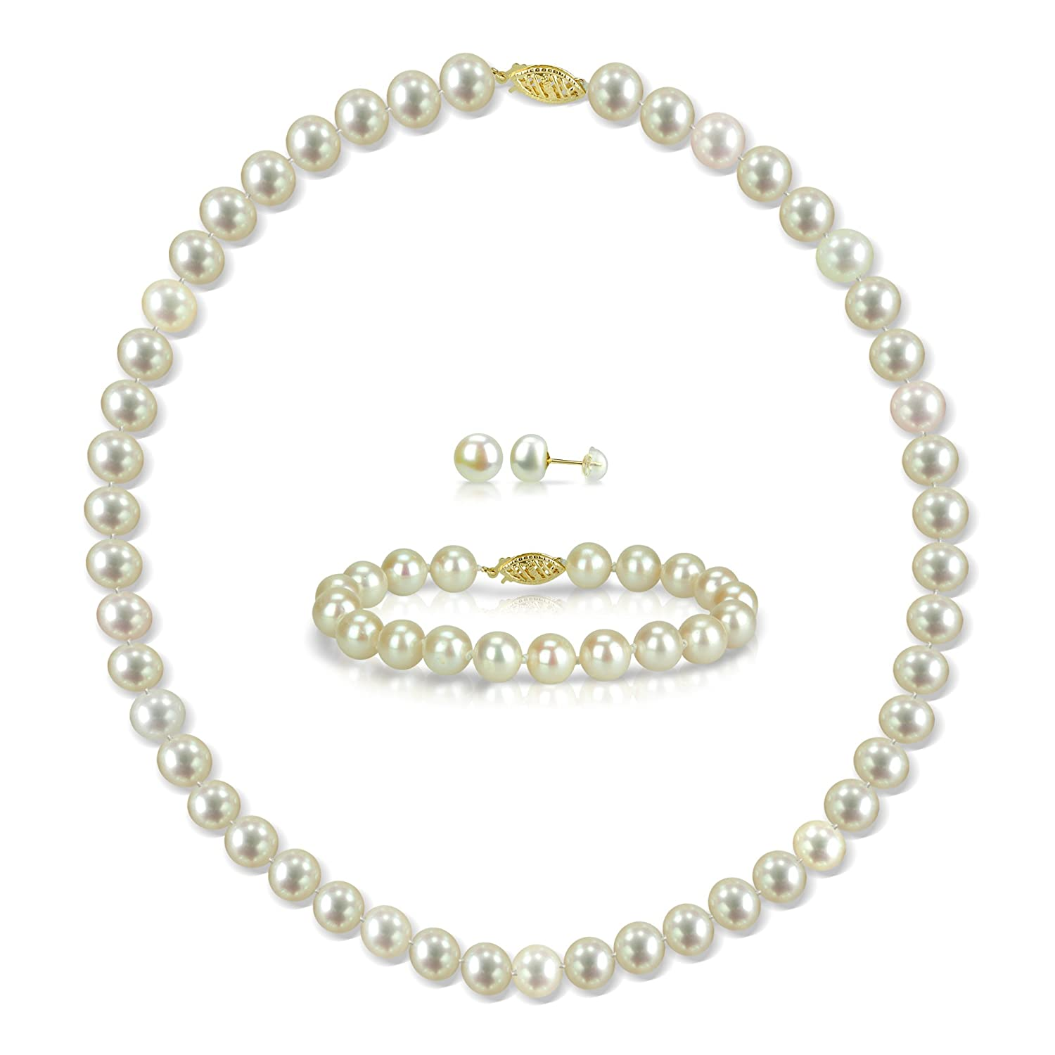 """14k Yellow Gold White Freshwater Cultured Pearl Necklace 18"""" , Bracelet 7"""" and Stud Earrings Set"""