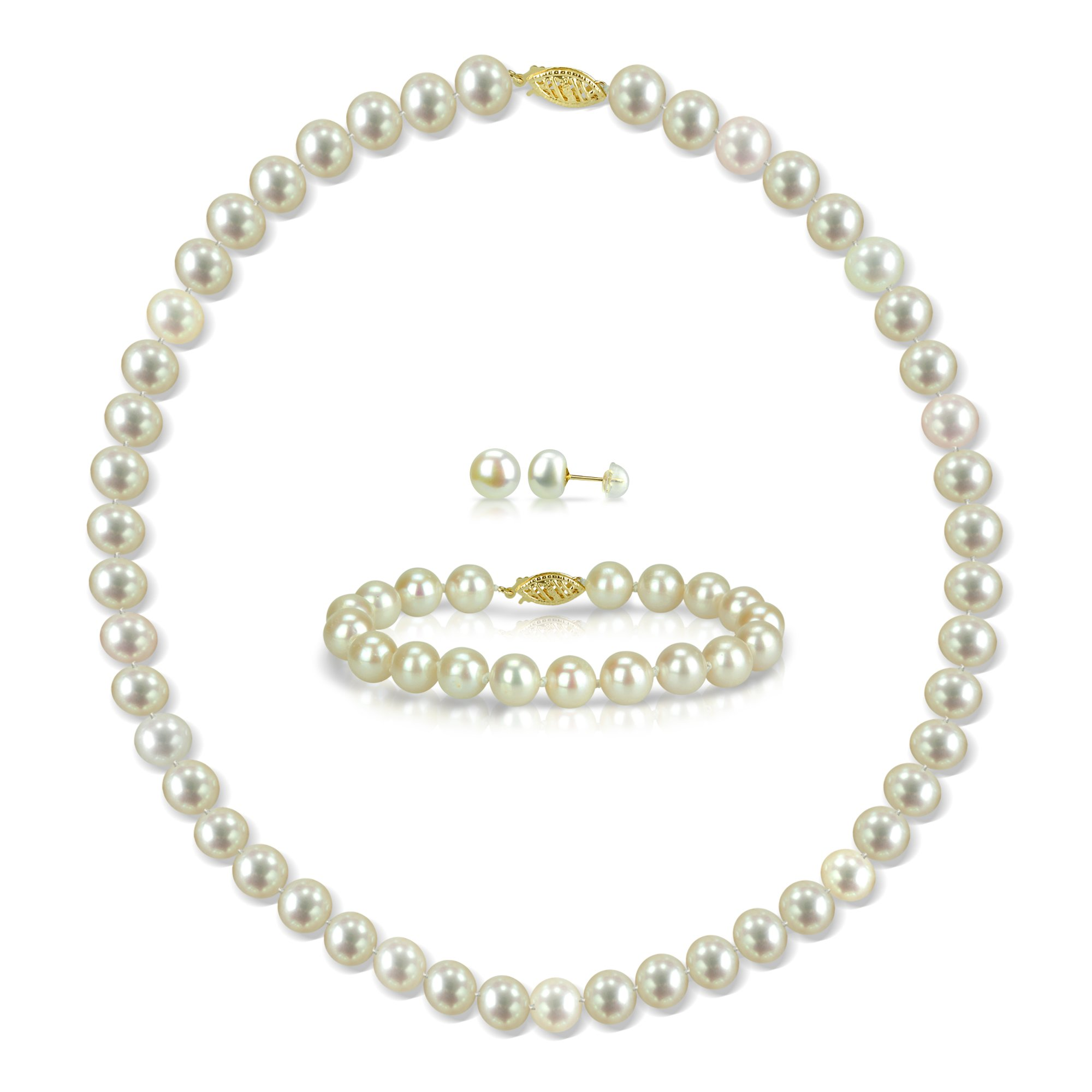 14k Yellow Gold 8-8.5mm White Freshwater Cultured Pearl Necklace 18'' , Bracelet 7'' and Stud Earrings