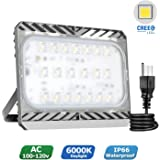 Led Flood Light Outdoor 100w (600w Equivalent), Cree Led Chips, 9500lm, Daylight White, 6000K, AC100-120V, Waterproof Security Light with Plug