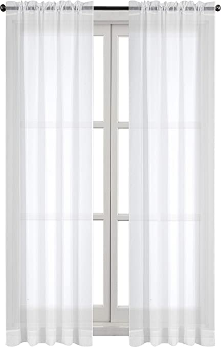 utopia bedding premium white sheer curtains sheer voile white luxurious high thread window - White Sheer Curtains