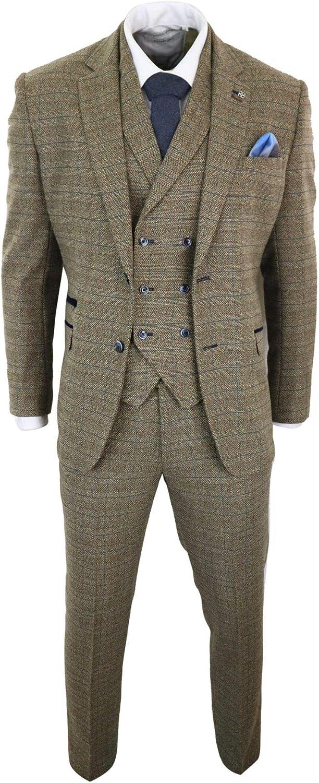 Mens 3 Piece Oak Brown Tweed Check Double Breasted 1920s Vintage Peaky Blinders Suit Oak-Brown