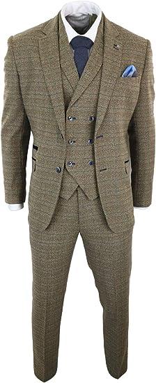 Homme Tweed Classique 3 pièces Costume Marron Clair à Chevrons Carreaux Rétro patraque oeillères