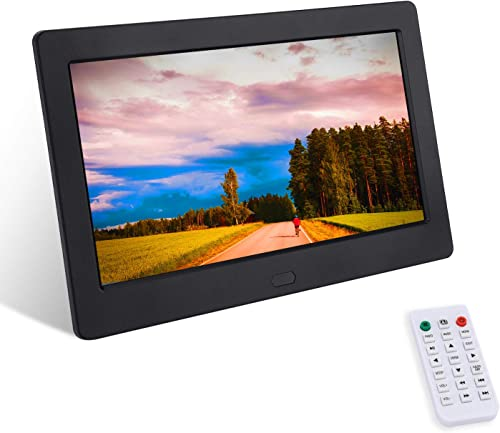 Digital Photo Frame 7 Inch 1280×800 16 9 IPS Widescreen, FamBrow Electronic Digital Picture Frame with Remote Control, Calendar, Timing On Off, Slideshow, Support 1080P Video, Background Music