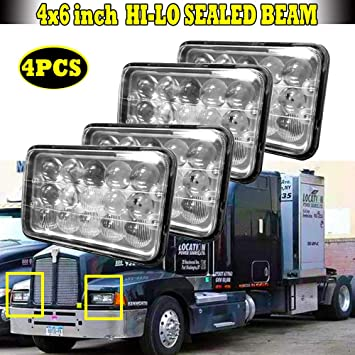 "4x6/"" LED Headlights Hi-Lo Beam DRL lamp For Kenworth Peterbilt 357 379 378 Truck"