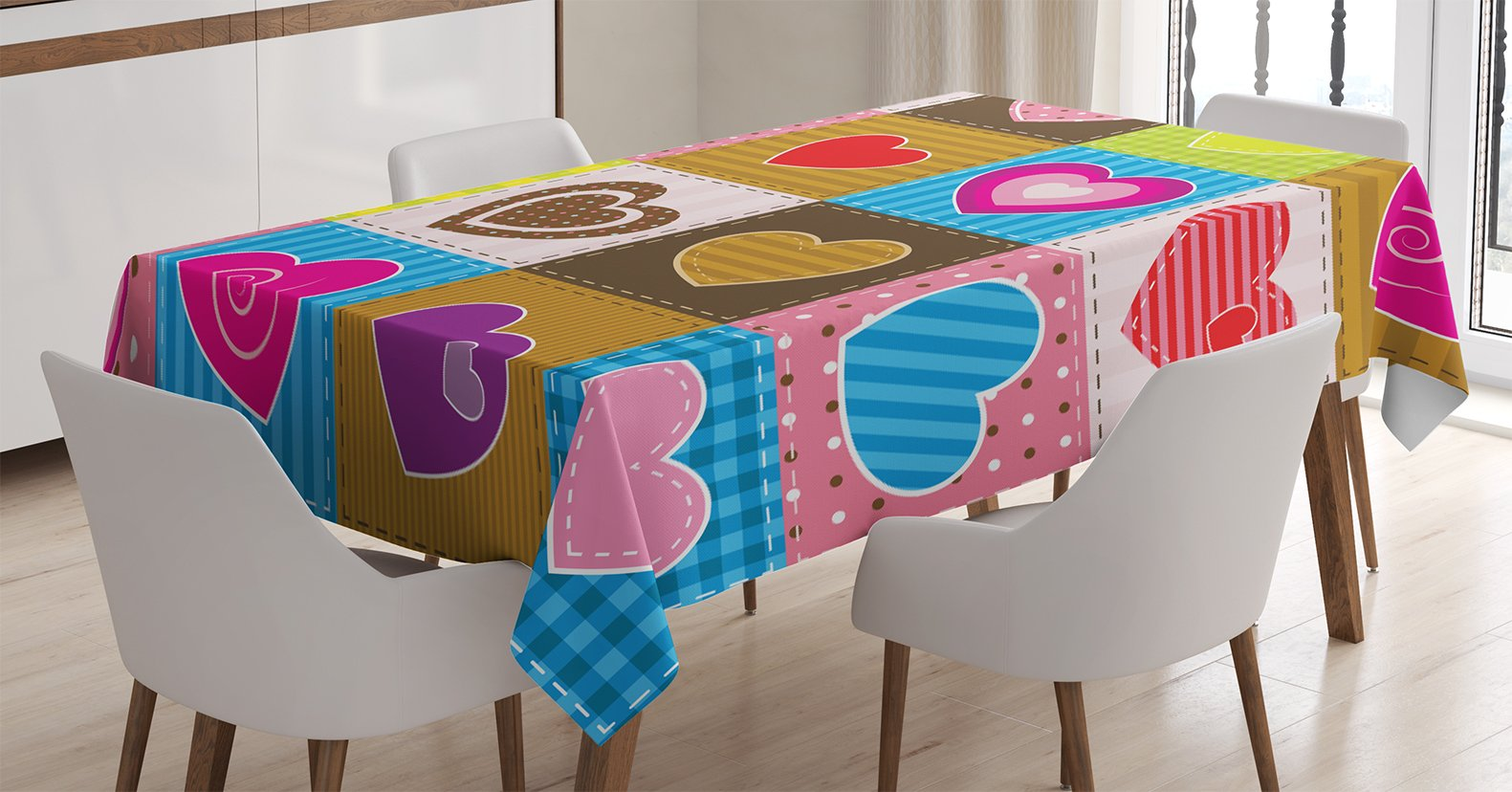 Farmhouse Decor Tablecloth by Ambesonne, Patchwork Themed Cute Heart Shaped Figures with Varying Backgrounds Love Valentine, Dining Room Kitchen Rectangular Table Cover, 60 W X 84 L Inches, Multi