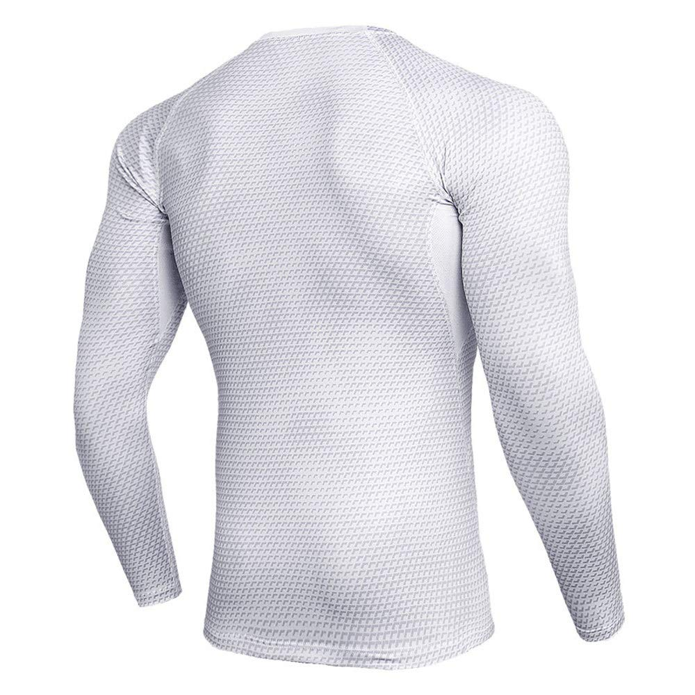 PKAWAY Long Sleeve Compression Atheletic Shirt Mens Workouts Tee White