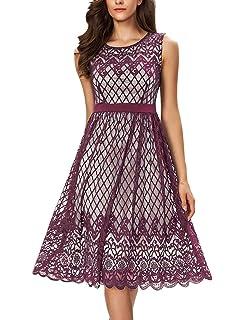 8283d68d02c8 Noctflos Women's A Line Lace Cocktail Wedding Party Midi Swing Tea Dress