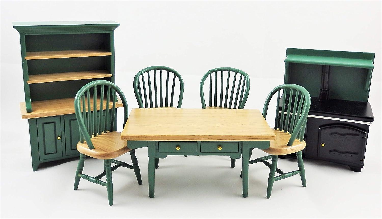 Melody Jane Puppenhaus Jägergrün Küche Esszimmer Möbelset Holz 1:12 Maßstab