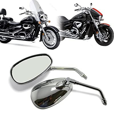 MOTORCYCLE CHROME REARVIEW SIDE MIRRORS FOR KAWASAKI SUZUKI CHOPPER SCOOTER 10MM: Automotive