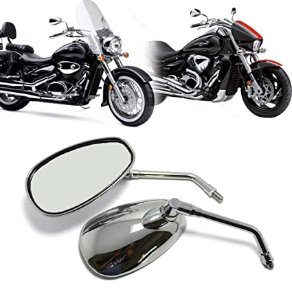 MOTORCYCLE CHROME REARVIEW SIDE MIRRORS FOR KAWASAKI SUZUKI CHOPPER SCOOTER 10MM