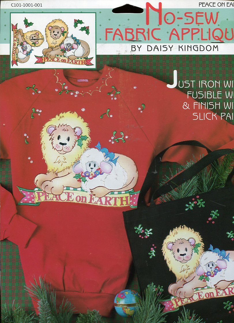 Daisy Kingdom No-Sew Fabric Applique ~ Peace on Earth Lion with Lamb C101-1001-001