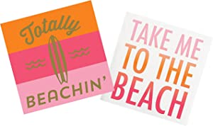 Surf Theme Beach Cocktail Napkins - for Tiki, Tropical, Hawaiian Themed Wedding, Birthday, Summer, Pool Party | Paper Napkin Set for Beverage, Luncheon, Dessert, Appetizer Use | 2 Packs Of 20 Napkins