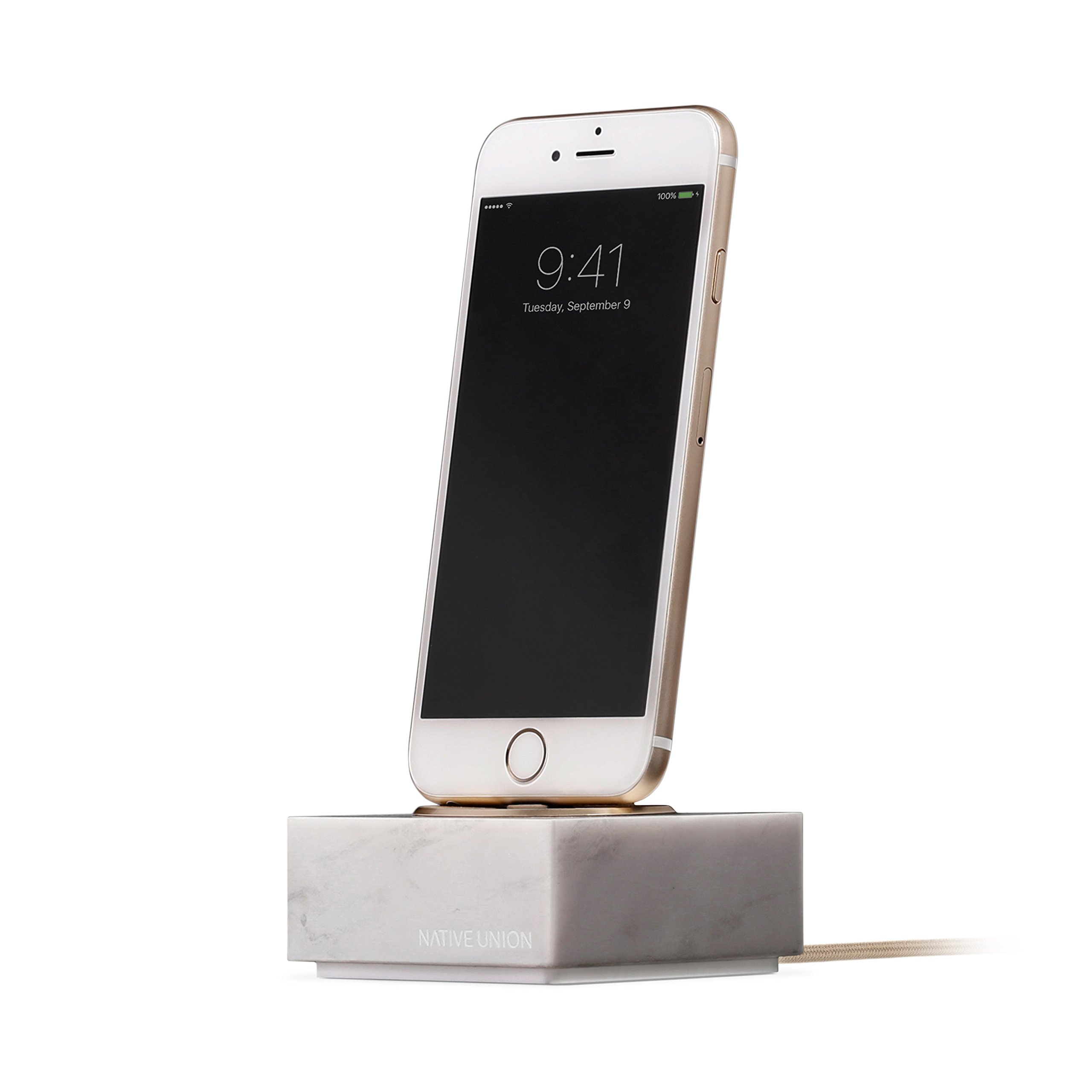 Native Union DOCK+ for iPhone or iPad Marble Edition - Genuine Marble Charging Dock with Reinforced Lightning Cable - Compatible with Most Apple Lightning Devices (White)