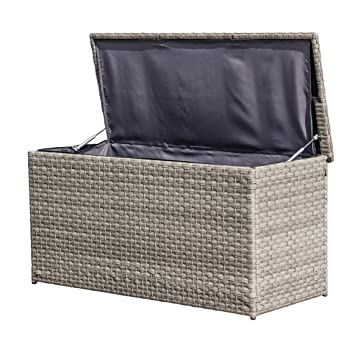 Haberkorn Garten Poly Storage Box Rattan Grey Cushion Box With