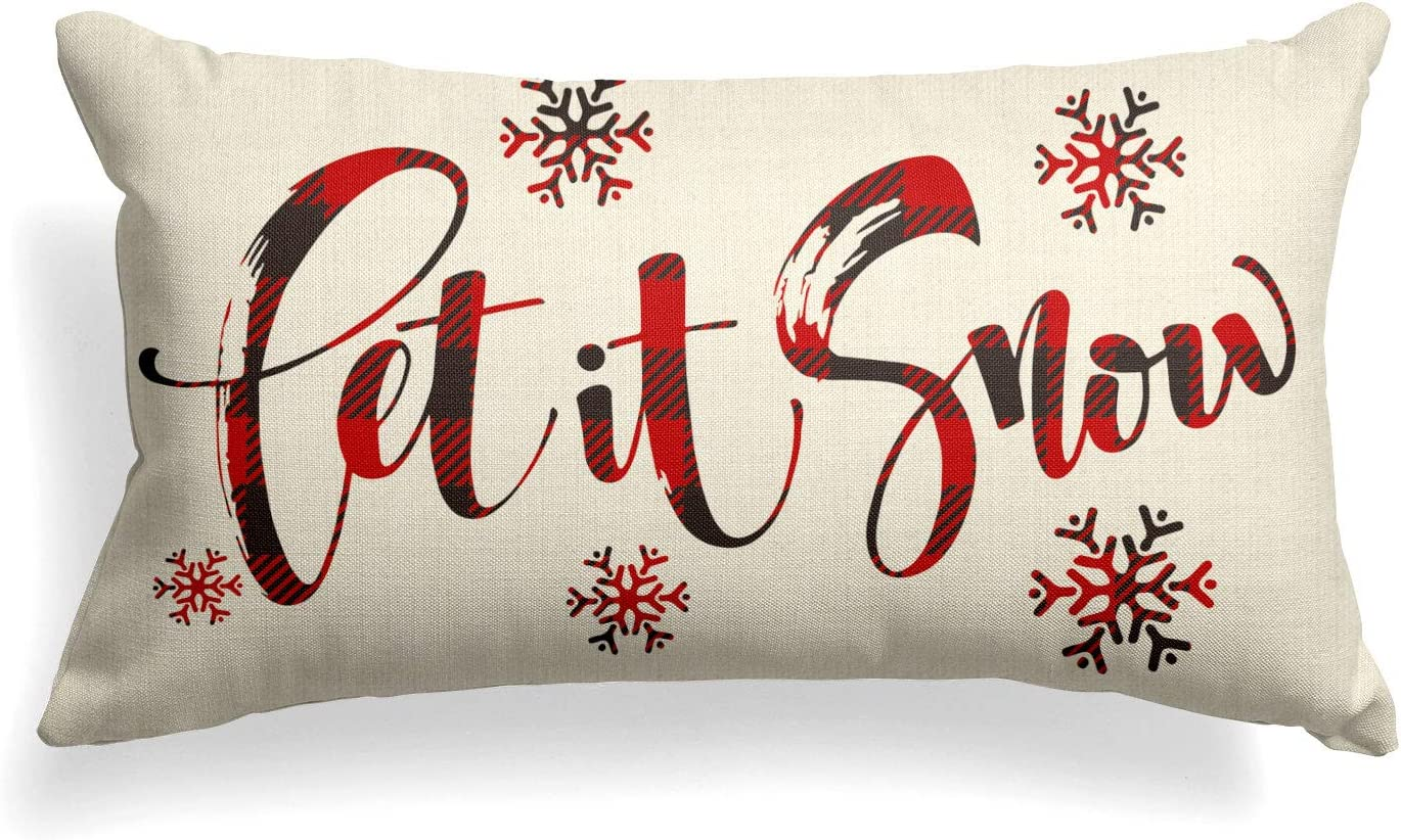 AVOIN Buffalo Plaid Let it Snow Throw Pillow Cover, 12 x 20 Inch Winter Christmas Holiday Farmhouse Cushion Case Decoration for Sofa Couch