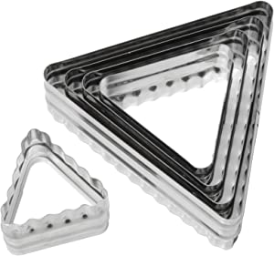 Ateco Double Sided Triangle Cutters in Graduated Sizes, Fluted & Plain Edges, Stainless Steel, 6 Pc Set